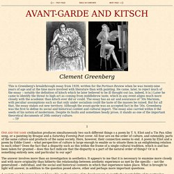 Greenberg: Avant-Gardde and Kitsch