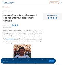 Douglas Greenberg discusses 4 Tips for Effective Retirement Planning