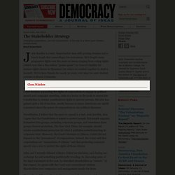 Kent Greenfield for Democracy Journal: The Stakeholder Strategy