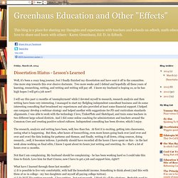 "Greenhaus Education and Other ""Effects"""