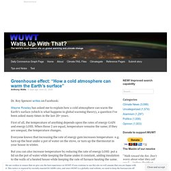 """Greenhouse effect: """"How a cold atmosphere can warm the Earth's surface"""""""