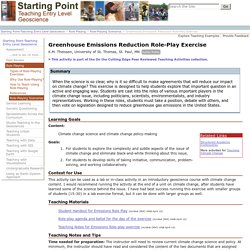 Greenhouse Emissions Reduction Role-Play Exercise