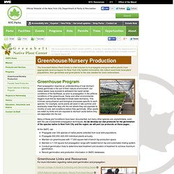 Greenhouse/Nursery Production : Greenbelt Native Plant Center
