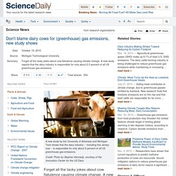 Don't blame dairy cows for (greenhouse) gas emissions, new study shows