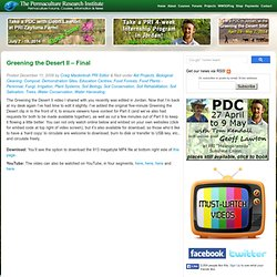 Greening the Desert II - Final Permaculture Courses, Information, Forums, News