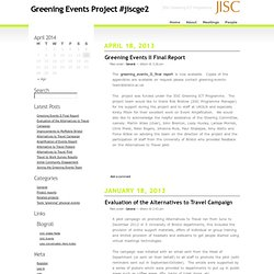 Greening Events Project #jiscge2