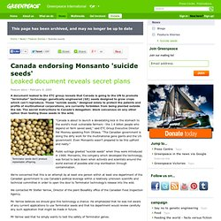 Canada endorsing Monsanto 'suicide seeds'