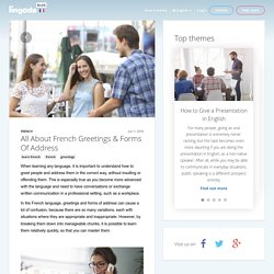 All About French Greetings & Forms Of Address