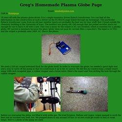 Greg's Homemade Plasma Globe Page