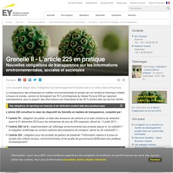 Grenelle II - L'article 225 en pratique - Décret d'application