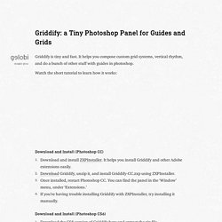 Griddify, a Tiny Photoshop Panel for Guides and Grids