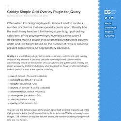 Griddy: Simple Grid Overlay Plugin for JQuery