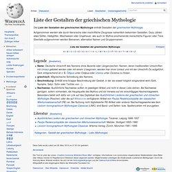 Liste griechischer Gottheiten