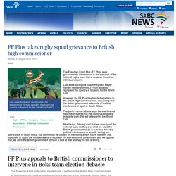 FF Plus takes rugby squad grievance to British high commissioner:Monday 31 August 2015