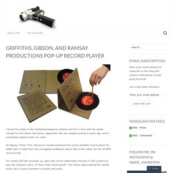 Griffiths, Gibson, and Ramsay Productions Pop-Up Record Player