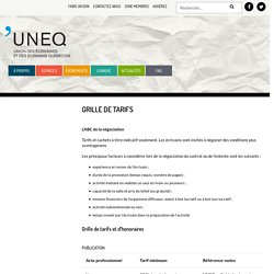 Grille de tarifs - UNEQ