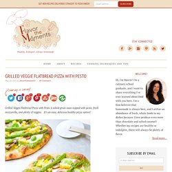 Grilled Veggie Flatbread Pizza with Pesto - Flavor the Moments