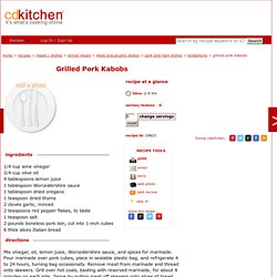 Grilled Pork Kabobs Recipe from CDKitchen.com