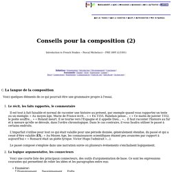 Grimoire FRE 180Y. Conseils pour la composition (2)