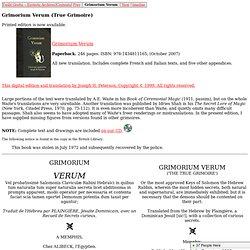 Grimorium Verum (True Grimoire) (French with parallel English translation)