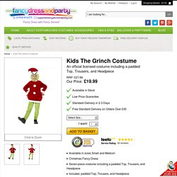 Kids The Grinch Costume - Fancy Dress and Party