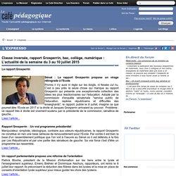 Classe inversée, rapport Grosperrin, bac, collège, numérique : L'actualité de la semaine du 3 au 10 juillet 2015