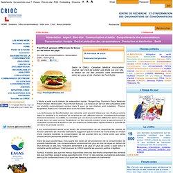 CRIOC 19/04/12 Fast Food, grosses différences de teneur en sel selon les pays