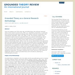 Grounded Theory as a General Research Methodology