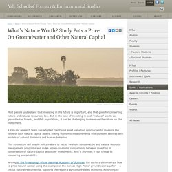 What's Nature Worth? Study Puts a Price On Groundwater and Other Natural Capital