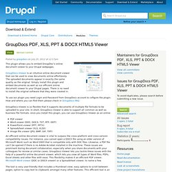 GroupDocs PDF, XLS, PPT & DOCX HTML5 Viewer