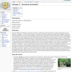 Groupe 3 : Tourisme animalier - TP INTD