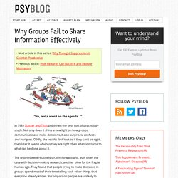 Why Groups Fail to Share Information Effectively