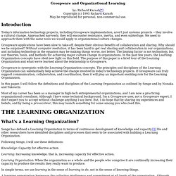 Groupware and Organizational Learning