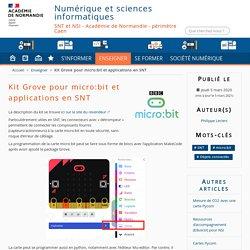 Kit Grove pour micro:bit et applications en SNT - Numérique et sciences informatiques