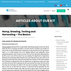 Hemp, Growing, Testing and Harvesting – The Basics - THC Test Kits