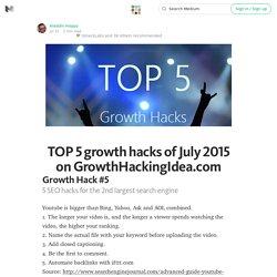 TOP 5 growth hacks of July 2015 on GrowthHackingIdea.com — It's An App World