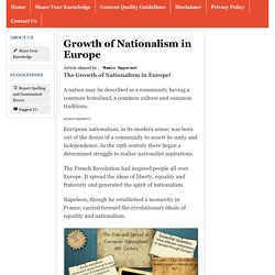 Growth of Nationalism in Europe