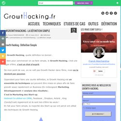 #GrowthHacking - La définition simple - Growth Hacking - Start-Up Marketing - #⓵