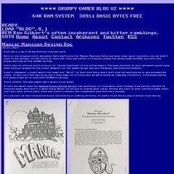 Grumpy Gamer - Maniac Mansion Design Doc
