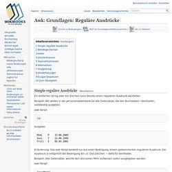 Awk: Grundlagen: Reguläre Ausdrücke – Wikibooks, Sammlung freier Lehr-, Sach- und Fachbücher