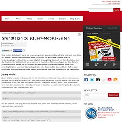 Grundlagen zu jQuery-Mobile-Seiten | Windows Developer