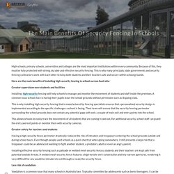 The Main Benefits Of Security Fencing In Schools