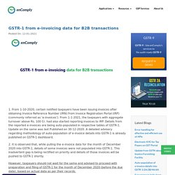 GSTR-1 from e-invoicing data for B2B transactions