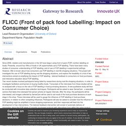 RESEARCH COUNCIL UK 23/05/14 Front of pack food Labelling: Impact on Consumer Choice