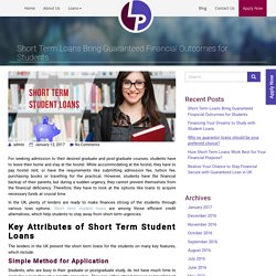 Short Term Loans Bring Guaranteed Financial Outcomes for Students