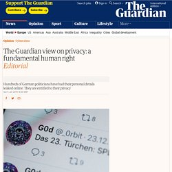 The Guardian view on privacy: a fundamental human right