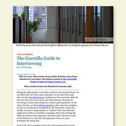 The Guerrilla Guide to Interviewing