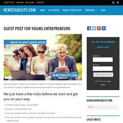 Guest Post for Young Entrepreneurs