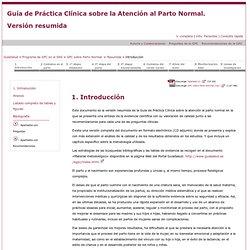 GuíaSalud. Guía de Práctica Clínica sobre la Atención al Parto Normal. Versión Resumida. Introducción.