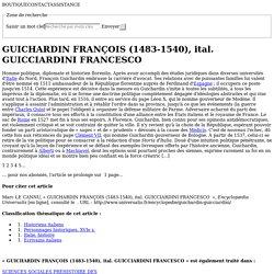 GUICHARDIN FRANÇOIS, ital. GUICCIARDINI